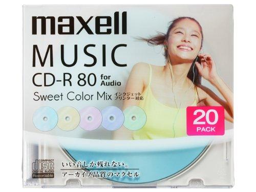 maxell 音楽用CD-R インクジェットプリンター対応「Sweet Color Mix Series」 80分 (20枚パ CDRA80PSM.20S