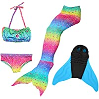 BESTYLING Girls Sparkle Mermaid Tail Set with Monofin for Swimming, Mermaid Swimmable Tail Swimsuit 4PCS Set