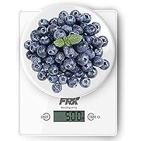 FRK キッチンスケール 料理はかり 風袋引き機能 強化ガラス 1gから5000gまで ホワイト 電池含む