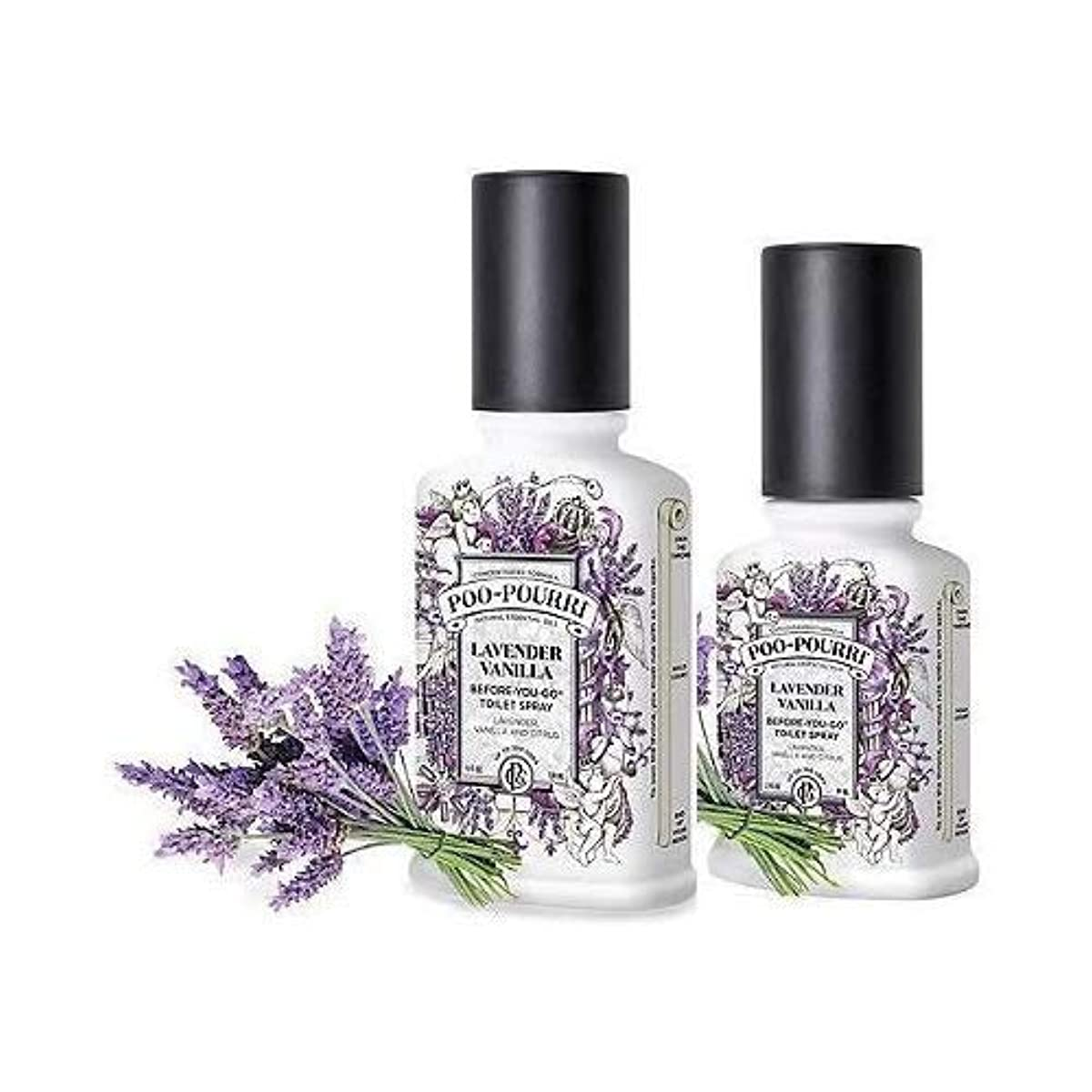 ポスト印象派潜水艦スカウト(Lavender Vanilla) - Poo-Pourri Preventive Bathroom Odour Spray 2-Piece Set, Includes 60ml and 120ml Bottle, Lavender...