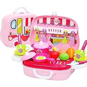 おままごと キッチン セット 26点 VFunix 収納 持ち運びできるクッキングトイ カー おでかけごっこ ミニクック お誕生日 クリスマスプレゼント キッズ 知育玩具