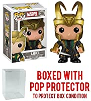 Funko POP 。マーベル: Loki withヘルメットCollectible Vinyl Figure (バンドルwith Popプロテクター)