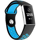 Fitbit Charge 3 バンド/ベルト Comtax 交換用バンド 柔らかいシリコンバンド 調整可能 多色選択 スポーツ 交換ベルド (S, ブラック+ブルー)