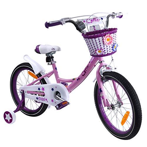 子供自転車 Cyfie クリスマス 自転車 お姫様気分 森ガール イギリス風 可愛い 補助輪付き カゴ付き 組み立て式 お誕生日 プレゼント 幼児 小学生 (14インチ・16インチ・18インチ))