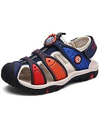 XIANV 子供 サンダル 男の子 つま先 保護 ボーイズ ビーチ 靴 学生 キッズ サンダル