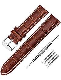 腕時計用ベルト18mm 20mm 22mm Zeiger 腕時計バンド 20MM横幅 本革 ブラウン 耐水性 バネ棒外し付き 簡単交換 レザーベルト 男女通用 B001