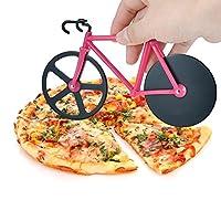 ブランド新しいデュアルステンレススチールバイク自転車ピザカッターピザカッターホイール ピンク