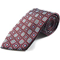 Crimson Red and Silver Retro Flower Woven Necktie
