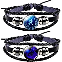 Newless 2 Pcs Constellation Leather Bracelet Retro Zodiac Astrology Braided Bracelet