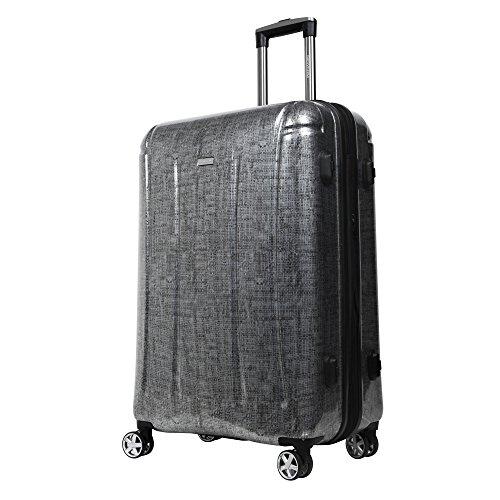 NEWCOM スーツケース 軽量 大容量 TSAロック搭載 ファスナー開閉式 100%PC 電子計量システム ダブルキャスター8輪 グレーSS