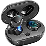 BassPal True Wireless Earbuds, IPX7 Waterproof 27H Playtime AAC 8.0 CVC 8.0 Bluetooth Earphones Earbuds with Hi-Fi Deep Bass 3D Stereo Sound, Touch Control & Charging Case (Black)