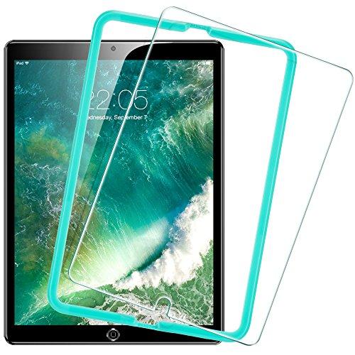 ESR iPad 2017 9.7 フィルム ブルーライトカット 三倍強化ガラスフィルム 日本製旭硝子素材採用 硬度9H 飛散防止 気泡ゼロ 指紋付きにくい 貼る枠付き Apple 新型iPad 2017 9.7インチ専用 液晶保護フィルム(高級版)