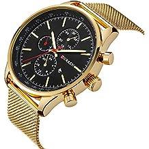 CURREN Men's Wrist Watches Business Quartz WristWatch 3ATM Daily Water Proof Wristwatch Black/Silver/Gold Gold-Black