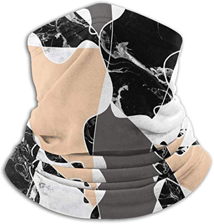 衰える反対する落とし穴モダンなブラックホワイトマーブルグレーピーチカラーブロック ネック暖かいスカーフ サーマルネックスカーフ マイクロファイバーネックウォーマー ネックウォーマー マフラー 帽子 ヘッドバンド 秋冬 防寒 防風 キャップ 多機能 ネック ゲーター 男女兼用