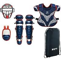 ZETT(ゼット) 野球 軟式用 防具 4点セット BL338 ネイビー×レッド(2964)