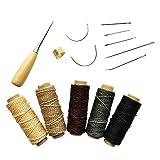 (インタートイボ) INTERTOYBO 蝋引き糸 レザークラフト ワックスコード 50m 14点 セット 革用 レザー 糸 紐 ロウ引き DIY 針 手作り 裁縫 0.8mm 幅