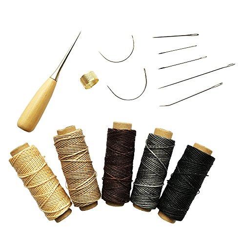 (インタートイボ)INTERTOYBO 蝋引き糸 レザークラフト ワックスコード 50m 14点 セット 革用 レザー 糸 紐 ロウ引き DIY 針 手作り 裁縫 0.8mm 幅