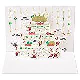 サンリオ クリスマスカード 洋風 ポップアップ 金線描き豆サンタとクリスマスケーキ  S6154