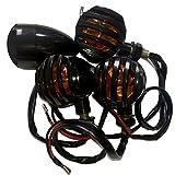 MaAn Emus バイク バードゲージ ブレット ウインカー 左右 4個 セット 汎用 12V 黒 ライト色 橙