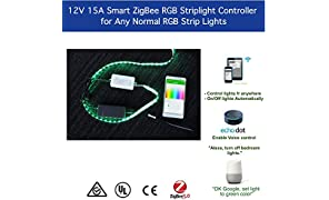 ZigBee RGB Strip Light Switch Controller 12 / 24V DC Dimmable Light Switch for Smart Home Automation Compatible with Hue Google Home Amazon Echo Dot Echo Plus Alexa Voice Control