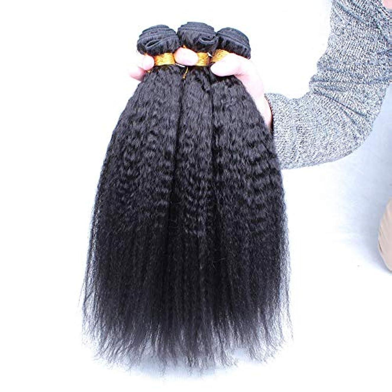 退化する違反トレードWASAIO ブラジルの変態ストレート人間の髪の束ヤキ織りスタイル置換拡張用アクセサリーを生き生きとした黒い色(1バンドル) (色 : 黒, サイズ : 12 inch)