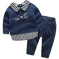 Milkiwai ベビー服 スーツ 男の子 長袖 シャツ ロングパンツ 上下セット 重ね着風 フォーマル カジュアル 紳士服 size 66 (ネービー)