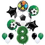 Mayflower Products サッカーパーティー用品 8歳の誕生日 ゴールゲッターバルーンブーケデコレーション - グリーンナンバー8