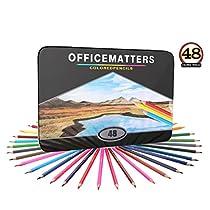 オフィスメ-カ OM 48種色鉛筆 高品質 芸術、絵書き、スケッチ用 48種色鉛筆 金属ケース 48本セット