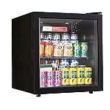 ミニ冷蔵庫、50L小型冷蔵庫ミニバー冷蔵庫、テーブル冷蔵庫静かな操作(最大37dB)、ドリンク冷蔵庫7段階の温度設定ガラス扉付き、ホテル、事務所