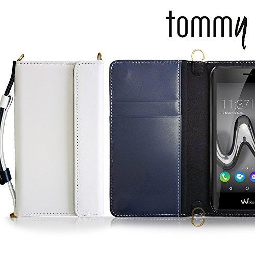 Tommy ケース 本革 レザー手帳ケース CHARON ホワイト simフリー Wiko ウイコウ トミー スマホ カバー スマホケース 手帳型 ショルダー 携帯 スマートフォン