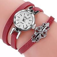 bestjpshop レディース腕時計ヴィンテージシンプルジョーカートレンディなフラワーデコレーションウォッチ(レッド)