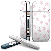 IQOS 2.4 plus 専用スキンシール COMPLETE アイコス 全面セット サイド ボタン デコ チェック・ボーダー 桜 花 ピンク 003997