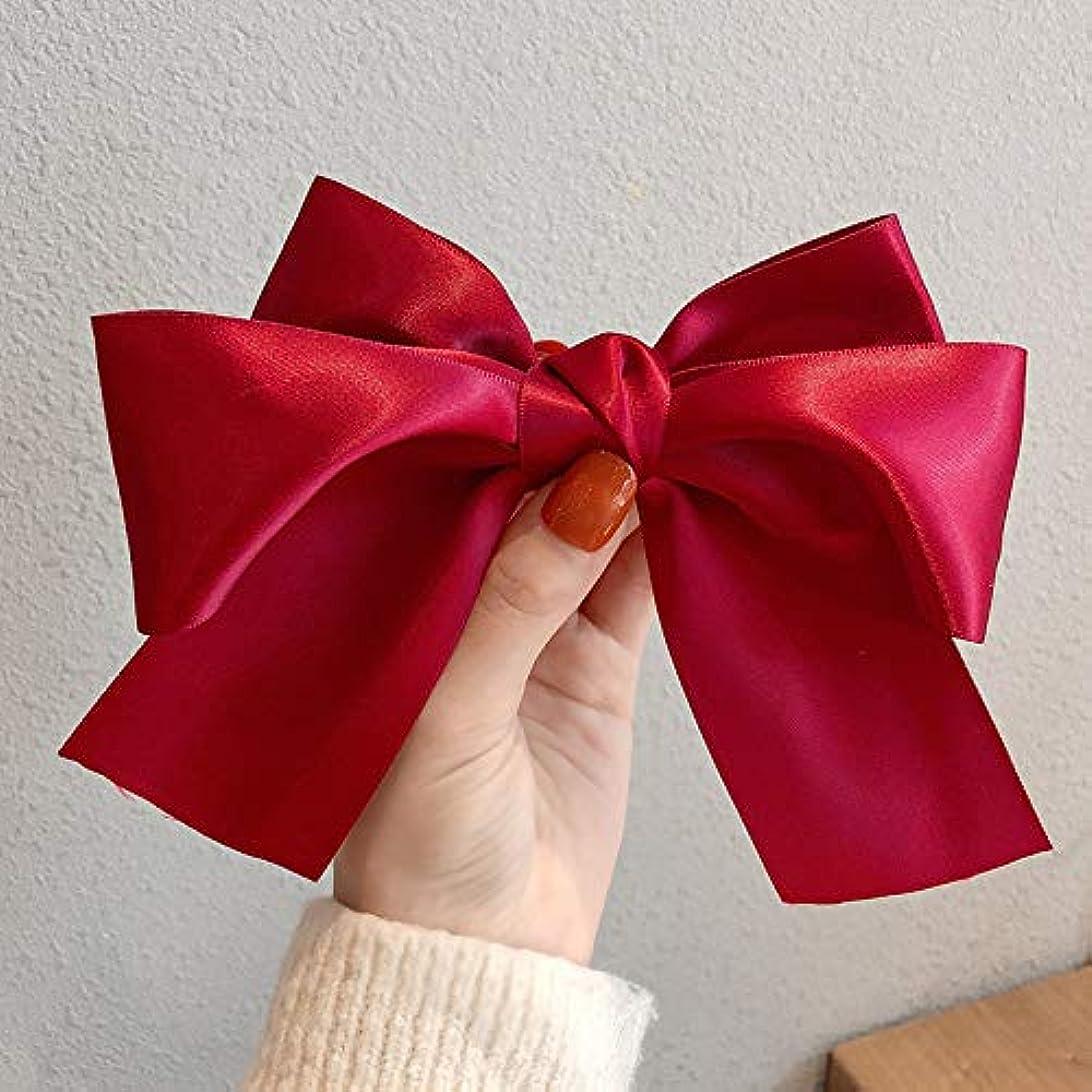 家庭すずめ塗抹Soft Chiffon Floral Big Bow Hairclip Girl Elegant ding jia Edge Clamp Headgear Clip Card South Korea Hair Accessories