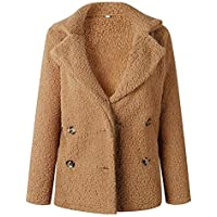 OopStyle Womens Lapel Sherpa Fleece Open Front Coat with Pockets Outerwear