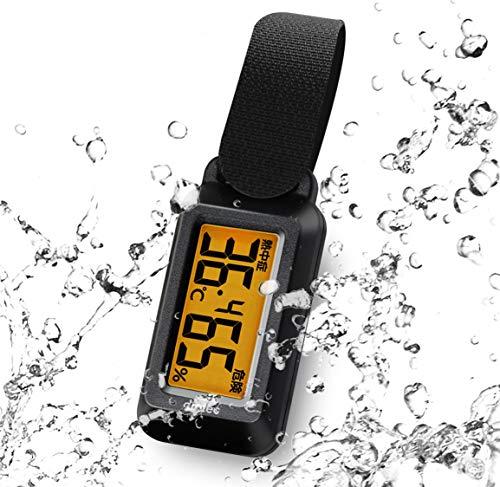 ドリテック(dretec) 温湿度計 ブライン 防滴 熱中症/インフルエンザ警告レベル表示 時計機能 バックライト ポータブル O-291BKDI ブラック