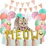 ピンクとゴールドの猫の誕生日パーティー用品 - 金色の牛の文字バルーンバナー ハッピーバースデーバナー ラテックスバルーン20個 ティッシュポン9個 タッセル 20個 キラキラの誕生日用蝶ネクタイと帽子 猫 ペットの誕生日デコレーション用