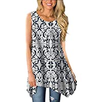 Paewin Women's Casual Sleeveless Round Neck Asymmetrical Floral Print Tunic Tank Top