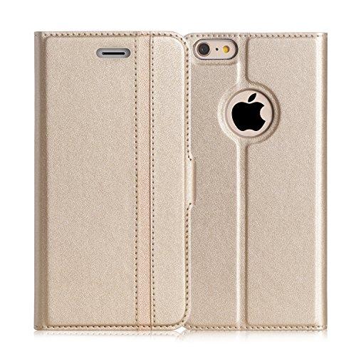 iPhone6s ケース iPhone6ケース,Fyy 100%手作り 高級PUレザー ケース 手帳型 スマホケース スマホカバー 横開き 財布型 カバー カードポケット スタンド機能 マグネット式 スマートフォンケース ゴールド