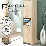 Artiss Bathroom Cabinet 185cm Height Wooden Cupboard - Oak