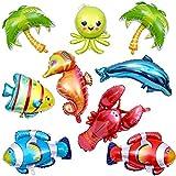 Chuangdi 9ピース 海洋動物 バルーン 大きな動物バルーン マンガ 魚 バルーン ホイルバルーン 子供 誕生日パーティー デコレーション用品