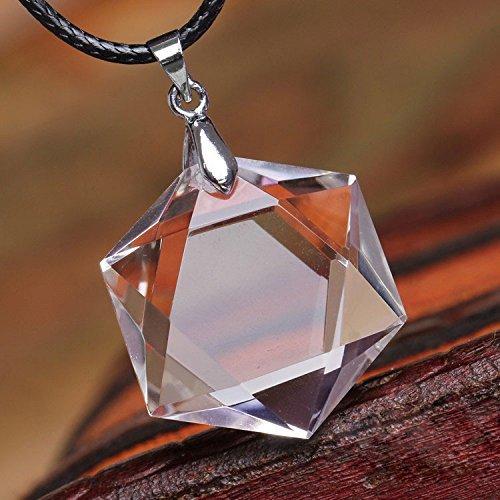 天然石 透明天然水晶六芒星(ダビデの星)ペンダントトップ...