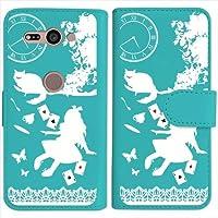 sslink Xperia XZ2 Compact SO-05K エクスペリアXZ2コンパクト 手帳型 ブルー ケース Alice in wonderland(ホワイト) アリス 猫 トランプ ハードケース ダイアリータイプ 横開き カード収納 フリップ カバー