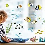 Yanqiao 水族館でのような効果 イルカと魚 キャラ風のウォールステッカー はがせる壁紙 おしゃれでかわいい シール式の壁紙 壁飾り子供の部屋に相応しい