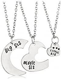 sobly Big Sis Middle Sis Little Sisネックレスセット3ピース、Best Friend分割ハートネックレス、Foreverバレンタインハートネックレスfor Little Girls Kids...