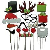 Yuelian(TM) クリスマス 結婚式 誕生日 パーティー 厚紙製 帽子 唇 口ひげ 眼鏡 シカ角 マスク スティック付 小道具