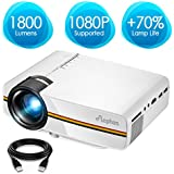 ELEPHAS LED Movie Projector, Support 1080P 150'' Portable Mini Projector Ideal for Home Theater Cinema Video Entertainment Games Party (White)