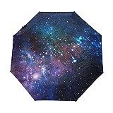 マキク(MAKIKU) 折り畳み傘 レディース 自動開閉 軽量 ワンタッチ 宇宙柄 星柄 梅雨対策 頑丈な8本骨 耐強風 撥水 グラスファイバー 収納ケース付 傘 メンズ