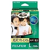 FUJIFILM 写真用紙 画彩 光沢 厚手 L 100枚 WPL100PRM