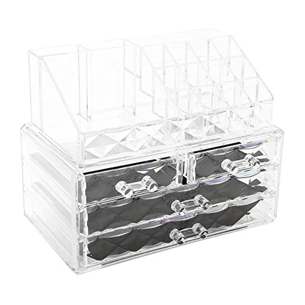 振動させる楽観化粧品収納ボックス アクリル製 2段式 三つ引き出し 大容量 多機能 丈夫 耐用 防塵 高透明度 化粧道具 小物入れ 化粧品入れ コスメ収納スタンド(2色) (透明)