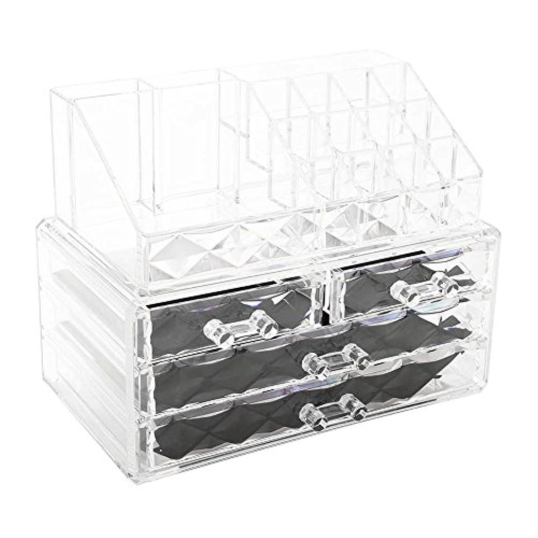 イソギンチャク肉の写真化粧品収納ボックス アクリル製 2段式 三つ引き出し 大容量 多機能 丈夫 耐用 防塵 高透明度 化粧道具 小物入れ 化粧品入れ コスメ収納スタンド(2色) (透明)